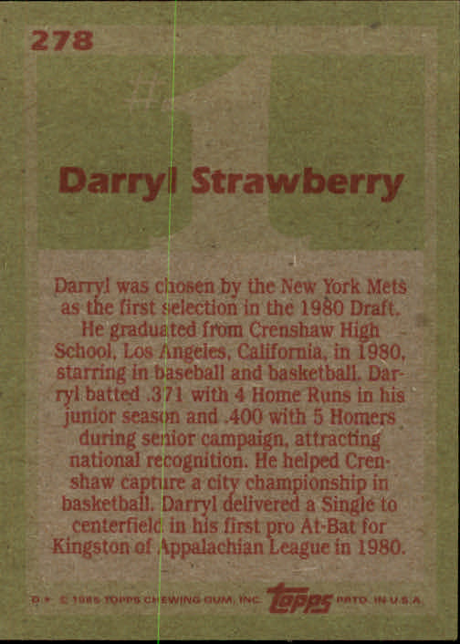 1985 Topps #278 Darryl Strawberry FDP back image