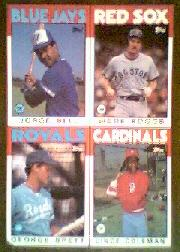 1986 Topps Wax Box Cards #B Wade Boggs