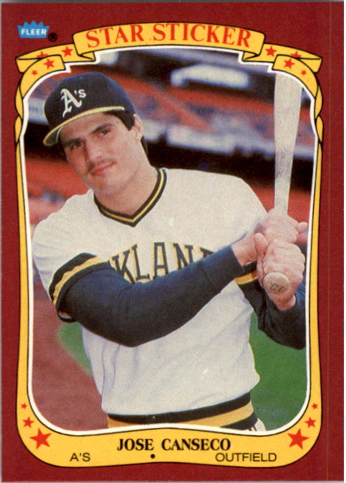 1986 Fleer Star Stickers #19 Jose Canseco