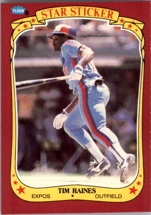1986 Fleer Star Stickers #92 Tim Raines