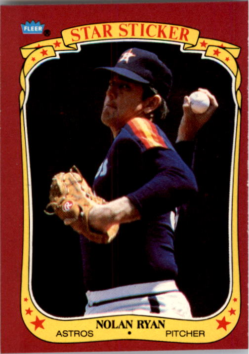 1986 Fleer Star Stickers #102 Nolan Ryan
