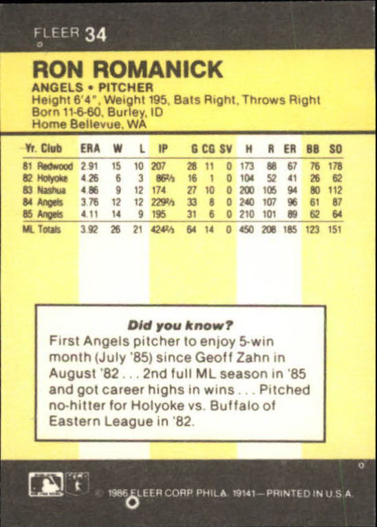 1986 Fleer Mini #34 Ron Romanick back image