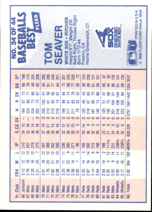 1986 Fleer Sluggers/Pitchers #34 Tom Seaver back image