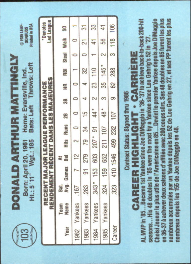 1986 Leaf/Donruss #103 Don Mattingly back image