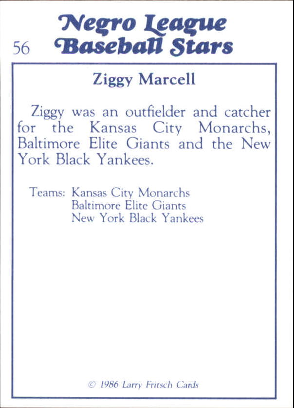 1986 Negro League Fritsch #56 Ziggy Marcell