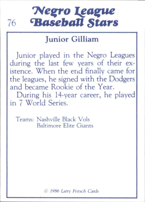 1986 Negro League Fritsch #76 Junior Gilliam