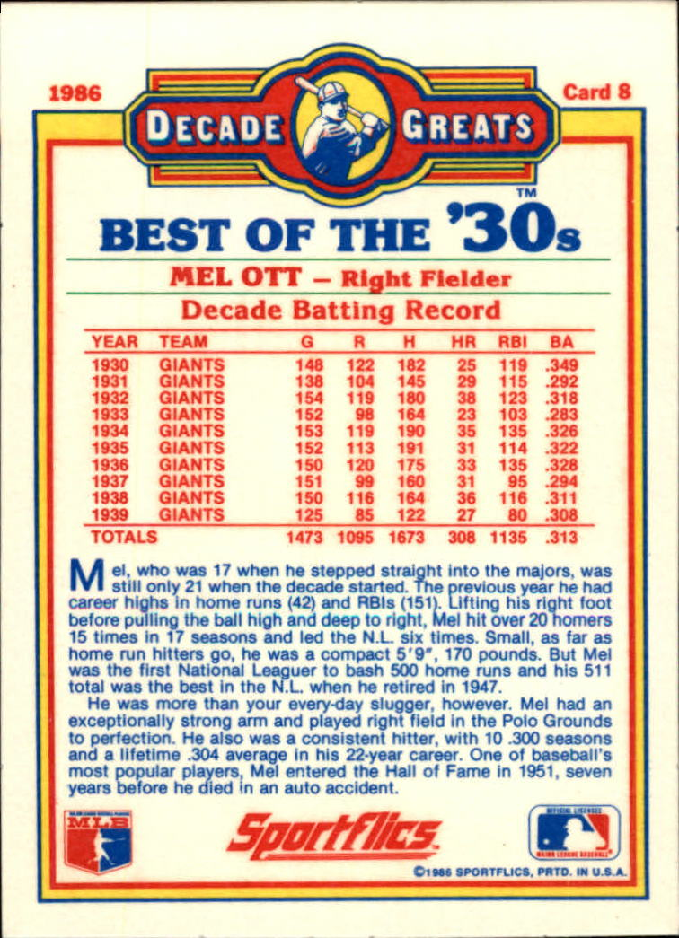 1986 Sportflics Decade Greats #8 Mel Ott back image