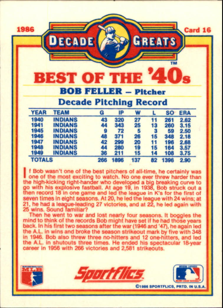1986 Sportflics Decade Greats #16 Bob Feller back image