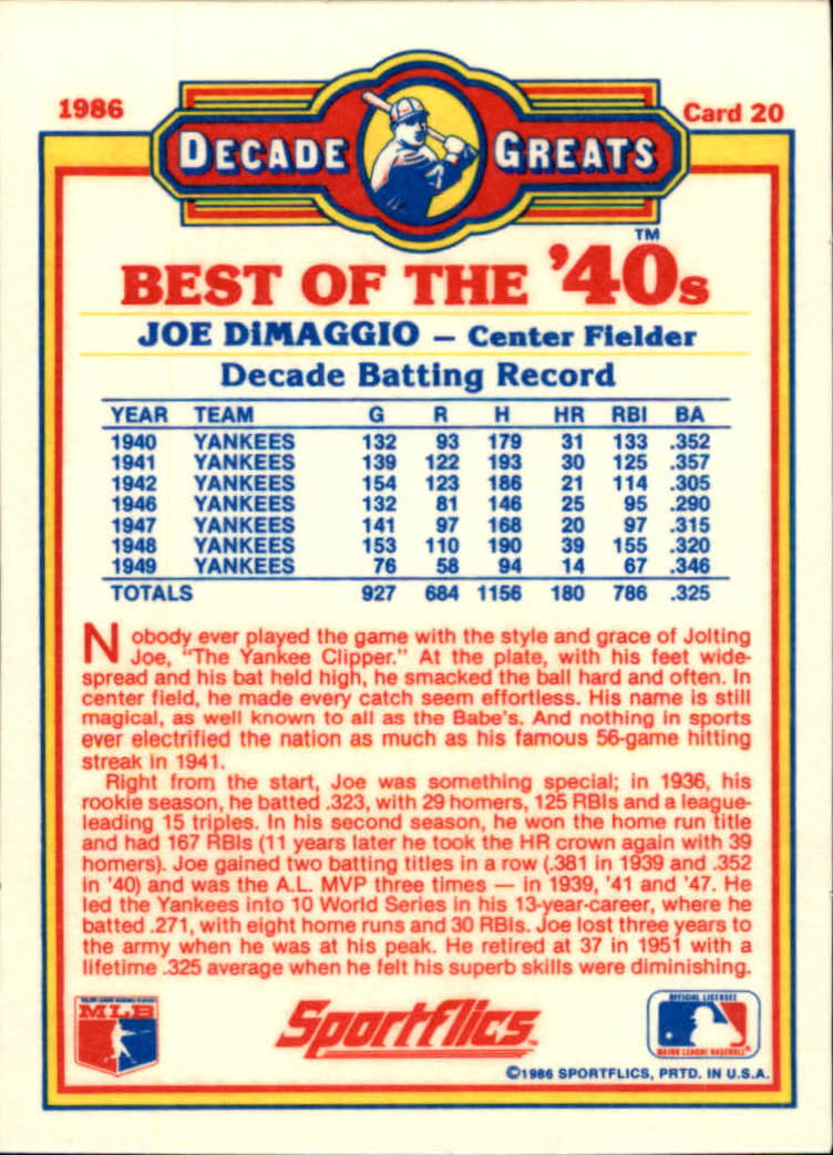 1986 Sportflics Decade Greats #20 Joe DiMaggio