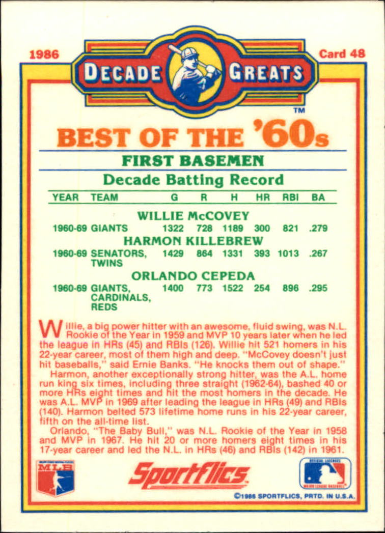 1986 Sportflics Decade Greats #48 Best '60s First Base/Willie McCovey/Harmon Kille back image
