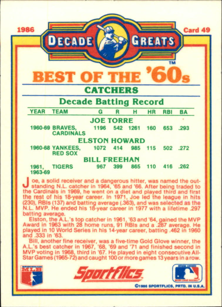 1986 Sportflics Decade Greats #49 Best '60s Catchers/Joe Torre/Elston Howard/Bill back image