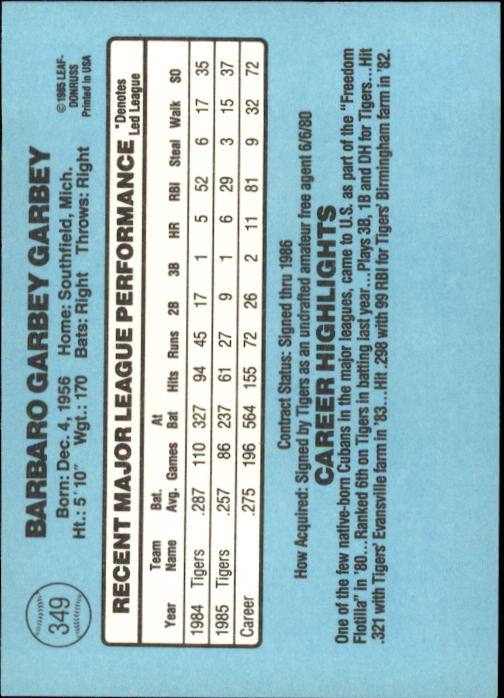 1986 Donruss #349 Barbaro Garbey back image