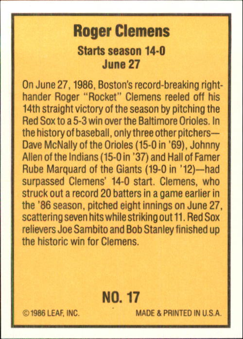 1986 Donruss Highlights #17 Roger Clemens back image