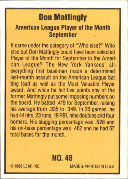 1986 Donruss Highlights #48 Don Mattingly back image