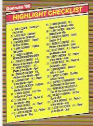 1986 Donruss Highlights #56 Checklist Card