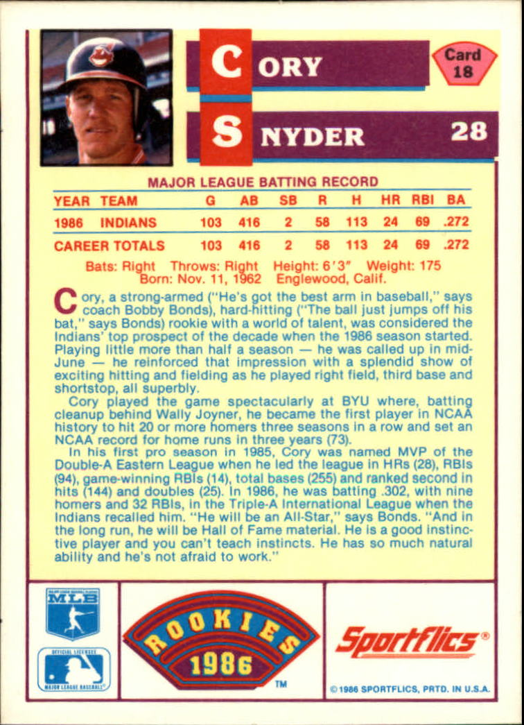 1986 Sportflics Rookies #18 Cory Snyder back image