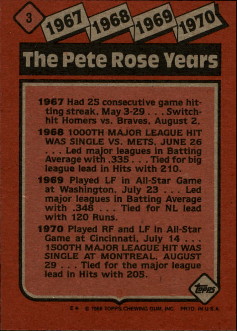 1986 Topps #3 Rose Special: '67-'70 back image