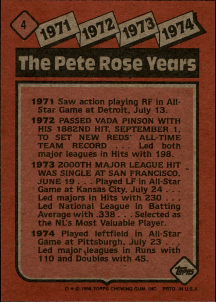 1986 Topps #4 Rose Special: '71-'74 back image