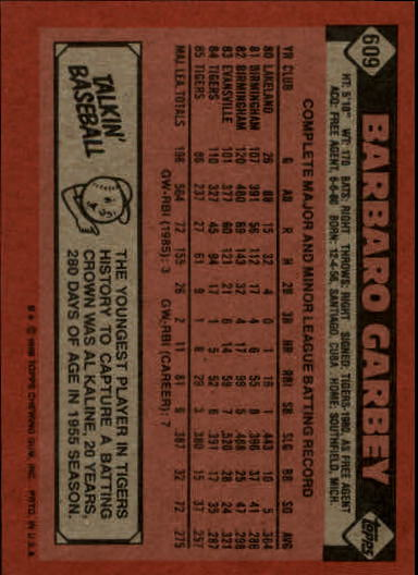 1986 Topps #609 Barbaro Garbey back image