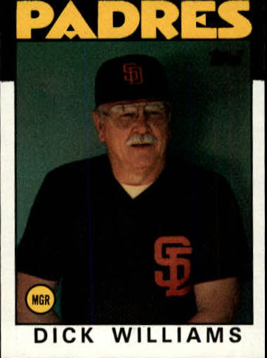 1986 Topps #681 Dick Williams MG front image