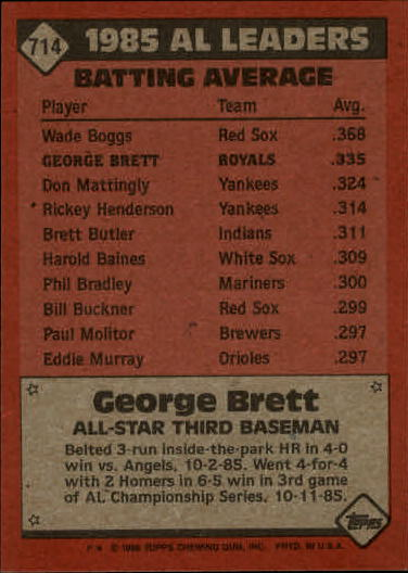 1986 Topps #714 George Brett AS back image