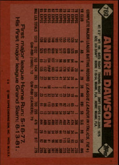 1986 Topps #760 Andre Dawson