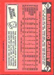 1986 Topps Tiffany #609 Barbaro Garbey back image