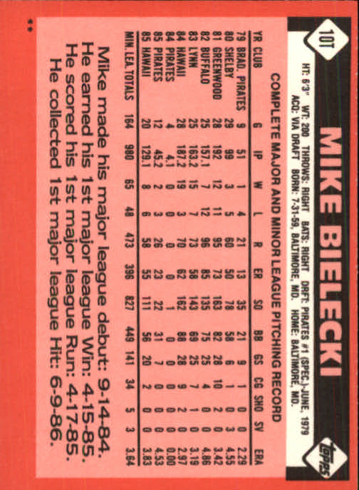 1986 Topps Traded #10T Mike Bielecki back image