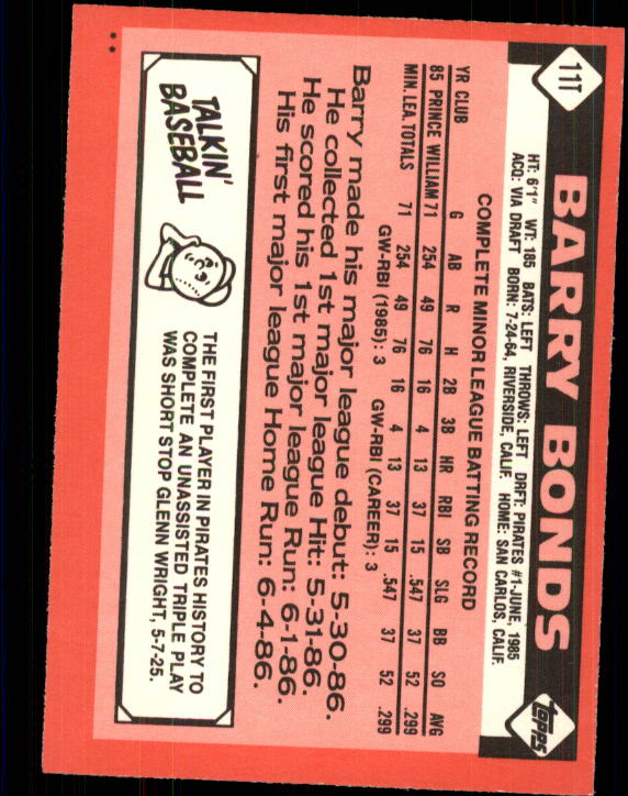 1986 Topps Traded #11T Barry Bonds XRC back image