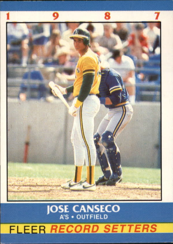 1987 Fleer Record Setters #3 Jose Canseco UER/(3 of 444 on back)