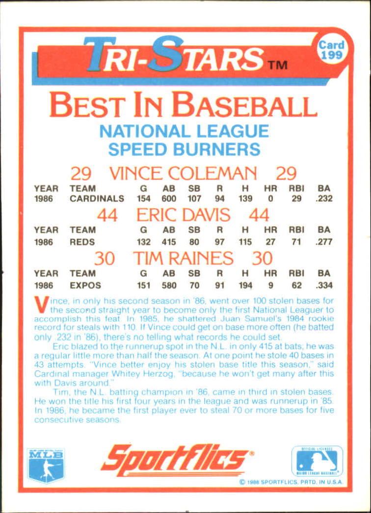 1987 Sportflics #199 Speedburners Raines/Cole/Davis back image
