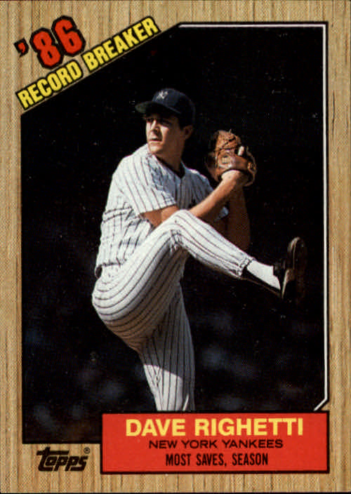1987 Topps #5 Dave Righetti RB/Most saves& season