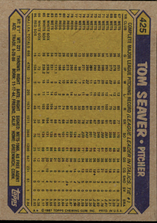 1987 Topps #425 Tom Seaver back image
