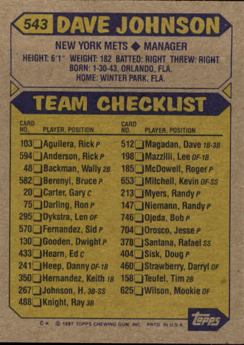 1987 Topps #543 Dave Johnson MG back image