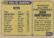 1987 Topps #606 Don Mattingly AS back image