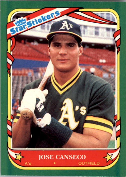 1987 Fleer Star Stickers #19 Jose Canseco