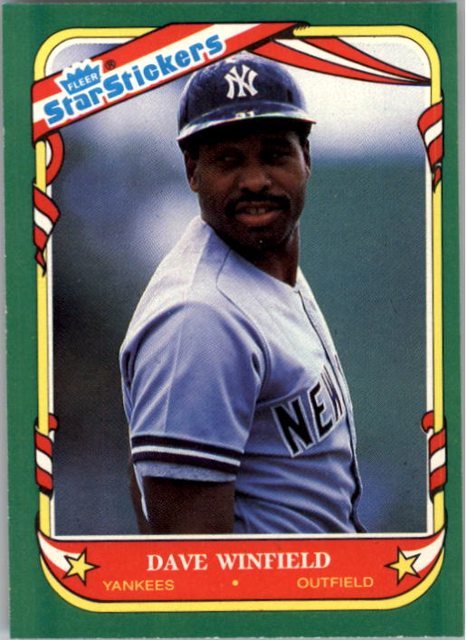 1987 Fleer Star Stickers #126 Dave Winfield