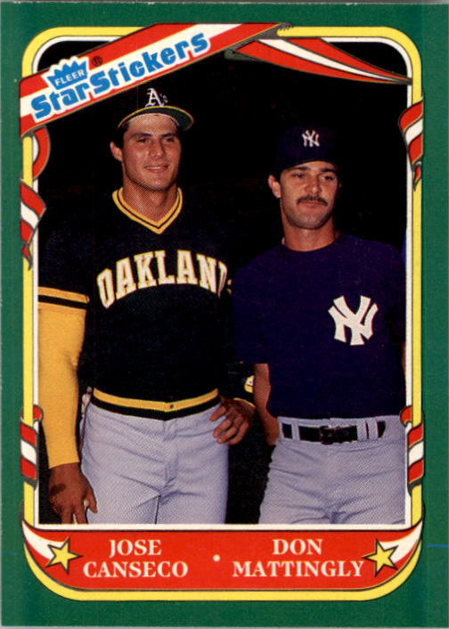 1987 Fleer Star Stickers #131 Jose Canseco CL/Don Mattingly
