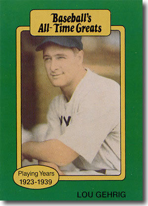 1987 Hygrade All-Time Greats #20 Lou Gehrig