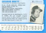 1987 Kay-Bee #5 George Brett back image