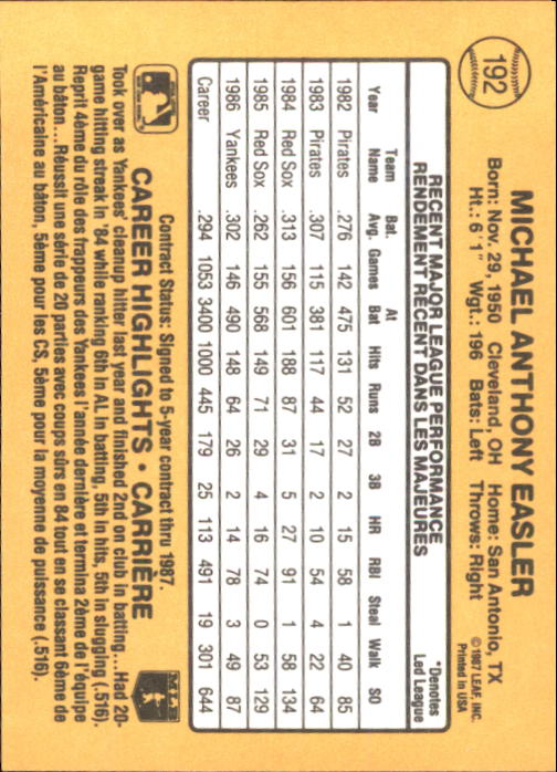 1987 Leaf/Donruss #192 Mike Easler back image