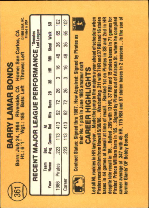 1987 Donruss #361 Barry Bonds RC back image