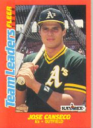 1988 Fleer Team Leaders #3 Jose Canseco