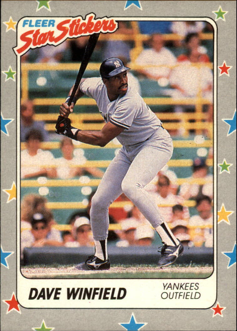 1988 Fleer Star Stickers #53 Dave Winfield