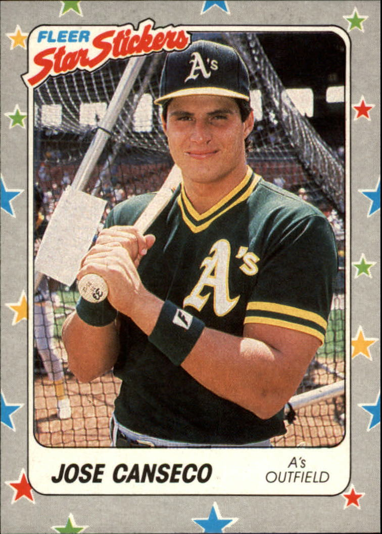 1988 Fleer Star Stickers #54 Jose Canseco