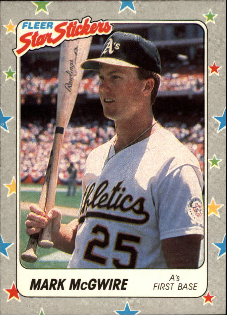 1988 Fleer Star Stickers #56 Mark McGwire