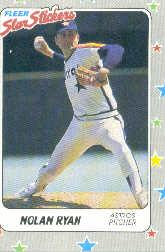 1988 Fleer Star Stickers #88 Nolan Ryan