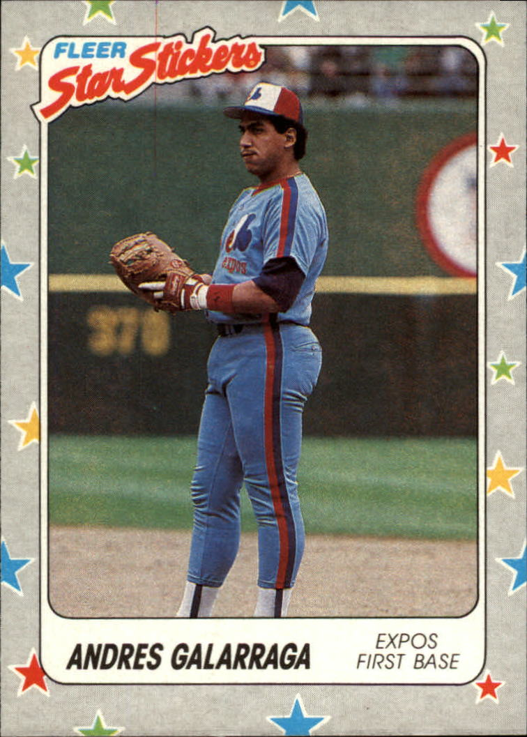 1988 Fleer Star Stickers #96 Andres Galarraga