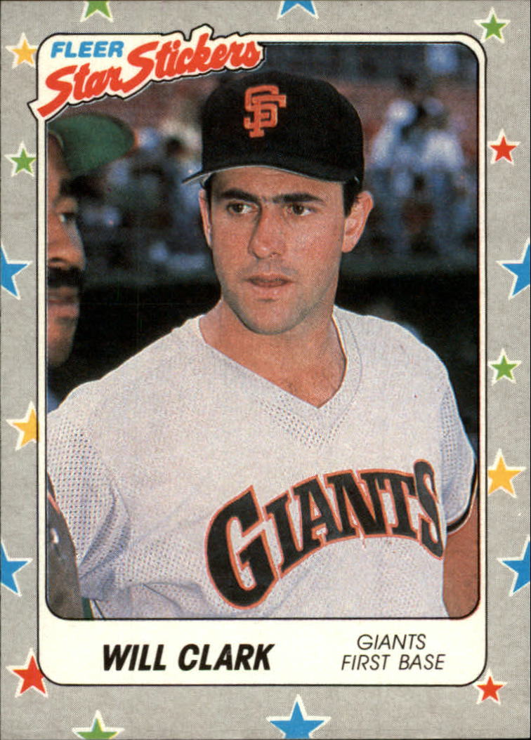 1988 Fleer Star Stickers #126 Will Clark