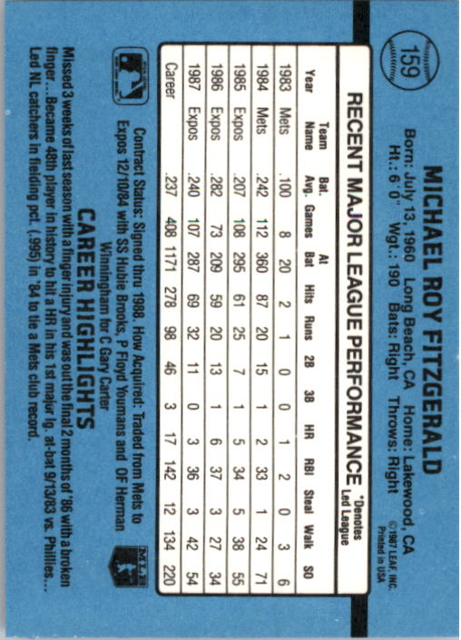 1988 Donruss #159 Mike Fitzgerald back image
